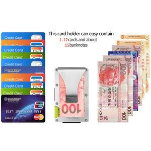 Image 5 - Porta cartão de crédito em alumínio, verão, fino, carteira masculina, proteção antirroubo rfid