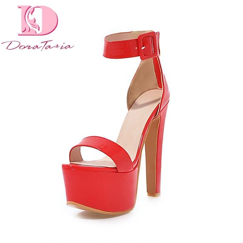 Party High Sexy 48 Frauen Qualität Beste Plus Sandalen Plattform strap Schwarzes Porm Heels Schuhe weiß rot Ankle 33 Frau Sommer Doratasia Größe FYqwafBw