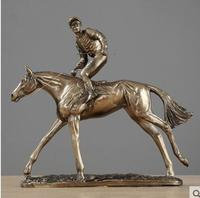 Europe art resin Figure sculpture Classical study Home ornaments Horse racing Knights furnishings model room crafts