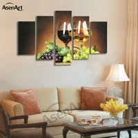 5 Panel Wall Art Fruit Grape Wine Glass Picture For Kitchen Living Room Wall Decor Canvas