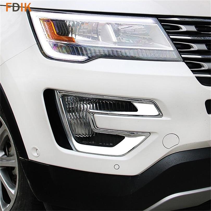 2pcs ABS Chrome Front Fog light Lamp Bezel Cover Trim for Ford Explorer 2016 2017