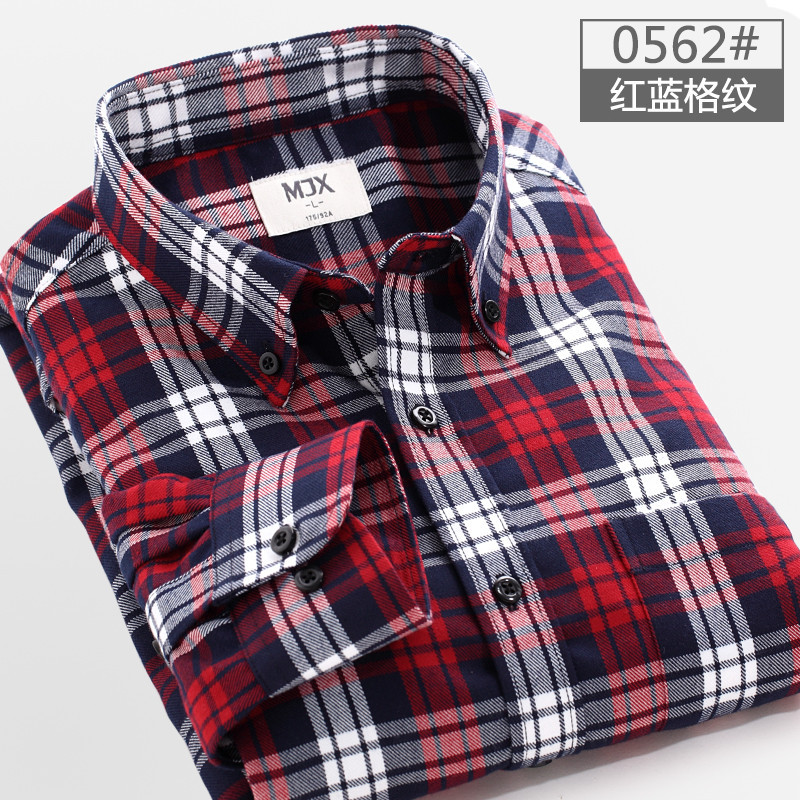 Online Shop Red And Black Plaid Shirt Men Sanded Mens Shirt In ...