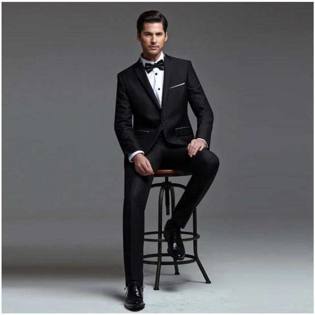 Lo nuevo Slim Fit hombre trajes esmoquin padrinos de boda muesca solapa de un solo botón trajes de boda para hombre