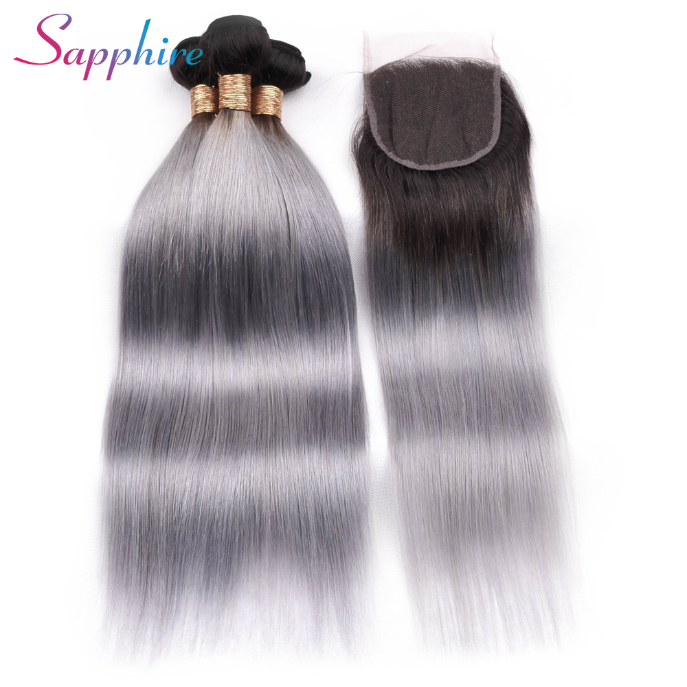 Sapphire Pre-colored Ombre Bundles with Closure 1b Grey 3 Bundles Brazilian Straight Hair Human Hair Bundles with Closure remy