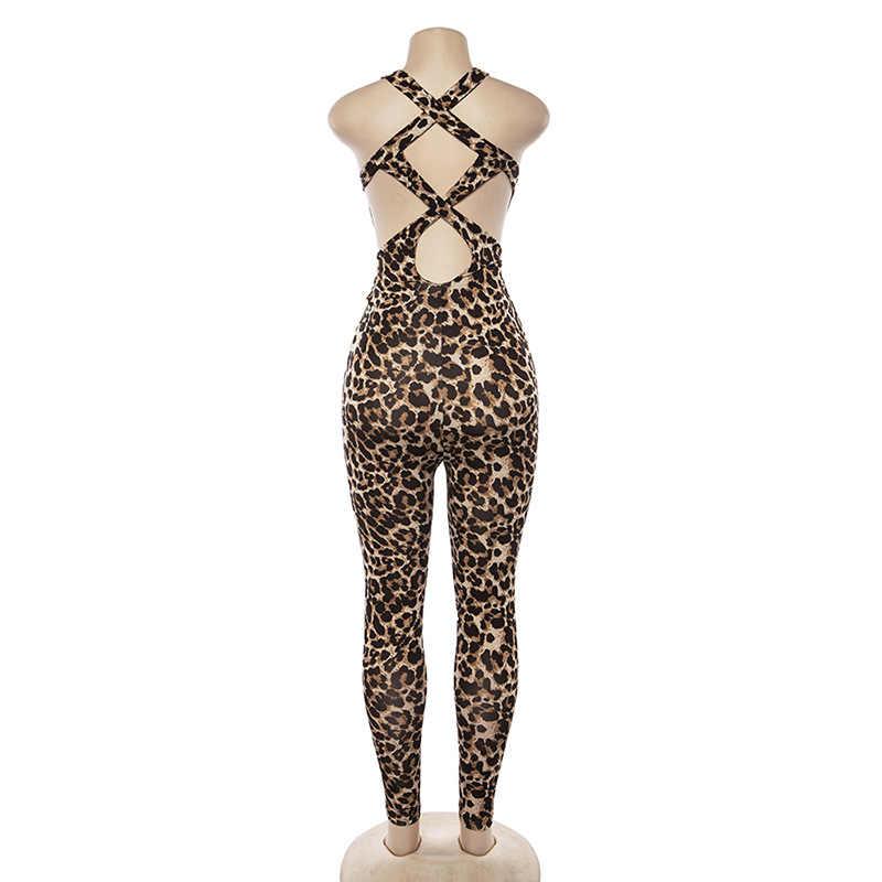 Hugcitar חלול החוצה הדפס מנומר ללא משענת סקסי סרבל 2018 סתיו חורף נשים אופנה ספגטי רצועות צלב תחבושת גוף