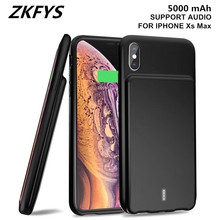 ZKFYS 5000mAh Portable Ultra Thin Fast Battery Charger Case  External Power Bank Charging For iPhone Xs Max Support Audio