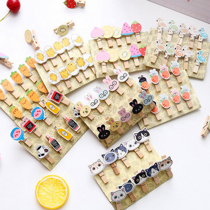 10 Pcs/lot Cartoon Animals Photo Clips Wooden Clip DIY Decoration Photo Wall Craft Pegs With Hemp Rope Classification Clip