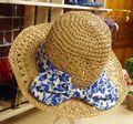 Moda al por mayor de ala ancha de paja sombrero vaqueros arco sombrero para el sol sombrero de playa sombrero casquillo del recorrido de viaje accesorios sombrero plegable