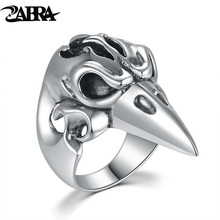 ZABRA Real Genuine 925 Sterling Silver Big Ring For Men Animal Eagle Punk Rock Gothic Rings Mens Biker Personalized Jewelry