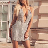 Festival Queen luxury diamond deep v neck mini dress women 2018 sexy halter rhinestone metal sequins party night club dress