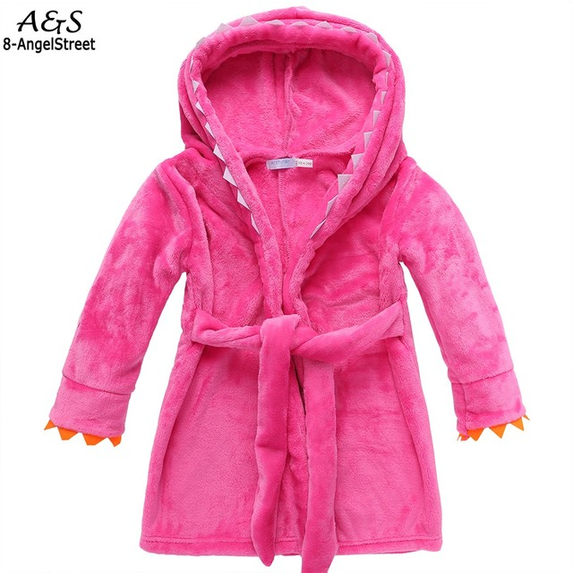 Kids Boys Girls Cartoon Hooded Bathrobe Sleepwear Robe Towel ...
