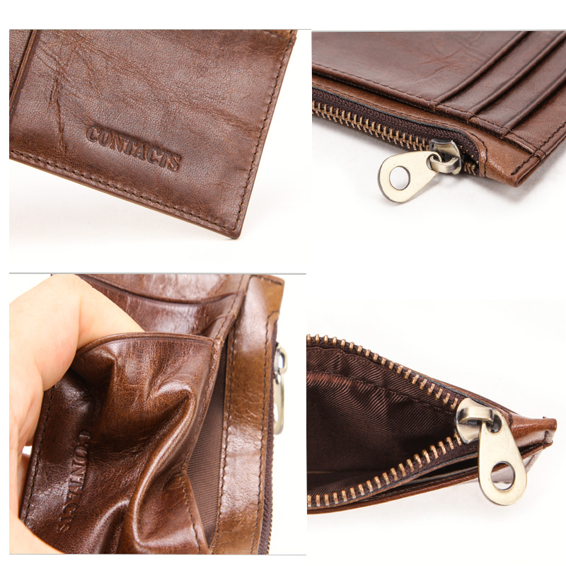 CONTACT'S 100% Genuine Leather card holder High capacity men id credit business card holder Male Coin Purse mini Slim Card Case 5