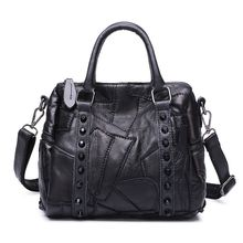 Genuine Leather Bags Women Handbags Luxury Handbags Women Bags Designer Rivet Brand Black Ladies Hand bag Small Shoulder Bags