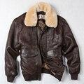 """Avirex fly ввс полета куртка меховым воротником из натуральной кожи куртка мужчины зима темно-коричневый овчины пальто пилот куртка """"пилот"""""""
