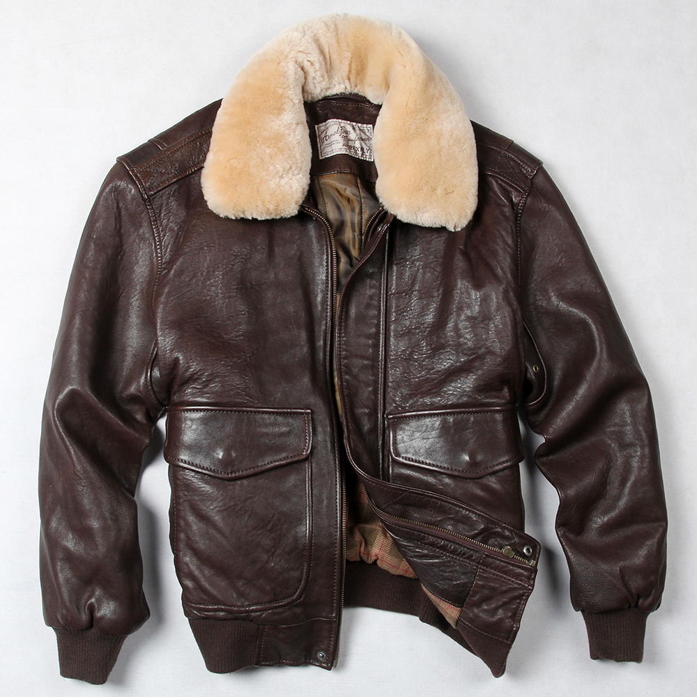 Popular Mens Brown Leather Bomber Jacket-Buy Cheap Mens Brown ...