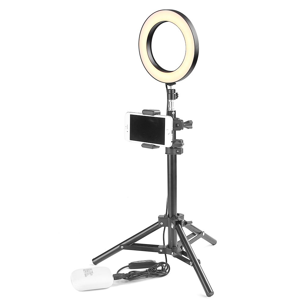 16cm Diameter LED Studio Camera Ring Light Photo Studio Light Dimmable Photography Fill Lamp For Live Video W/ Tripod Holder