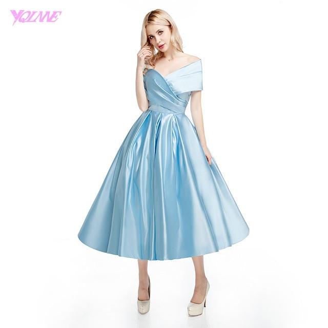 Light Blue Tea Length Dress