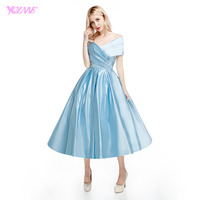 YQLNNE Elegant Off The Shoulder Prom Dresses Light Blue Satin Back Zipper Tea Length Dress