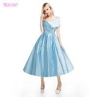 YQLNNE Elegant Off The Shoulder Prom Dresses Light Blue Satin Back Zipper Tea Length Dress