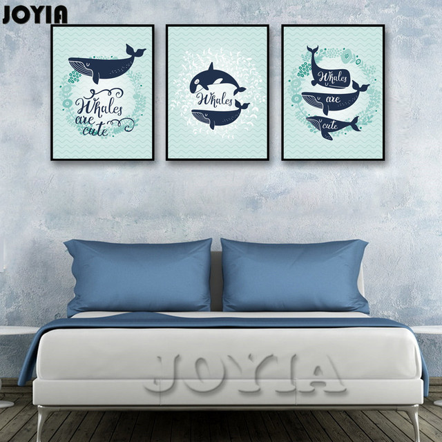 Cartoon Whale Deep Sea Canvas Art Baby Room Wall Decor Picture Paintings  Cute Whales Blue Prints
