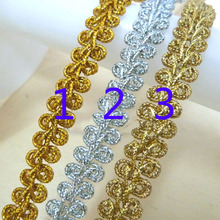 14 Yards Curve Lace Trim Gold Silver Light Centipede Braided Ribbon DIY Clothes Accessories For Cosplay Costume