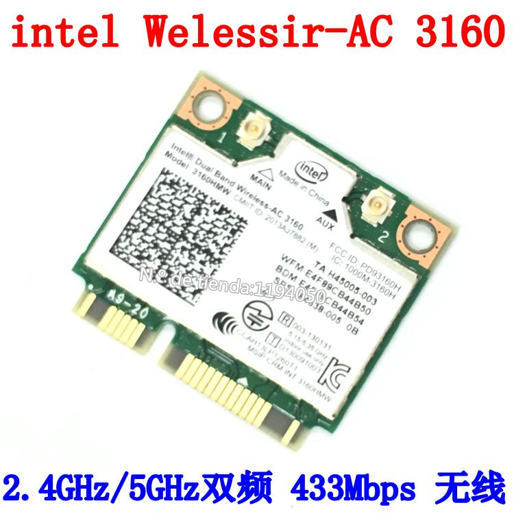 Двухдиапазонная Беспроводная мини-карта PCIe с процессором Intel 3160, AC + Bluetooth, поддержка 2,4 и 5,8 ГГц диапазонов B/G/N/AC, INTEL 3160 AC