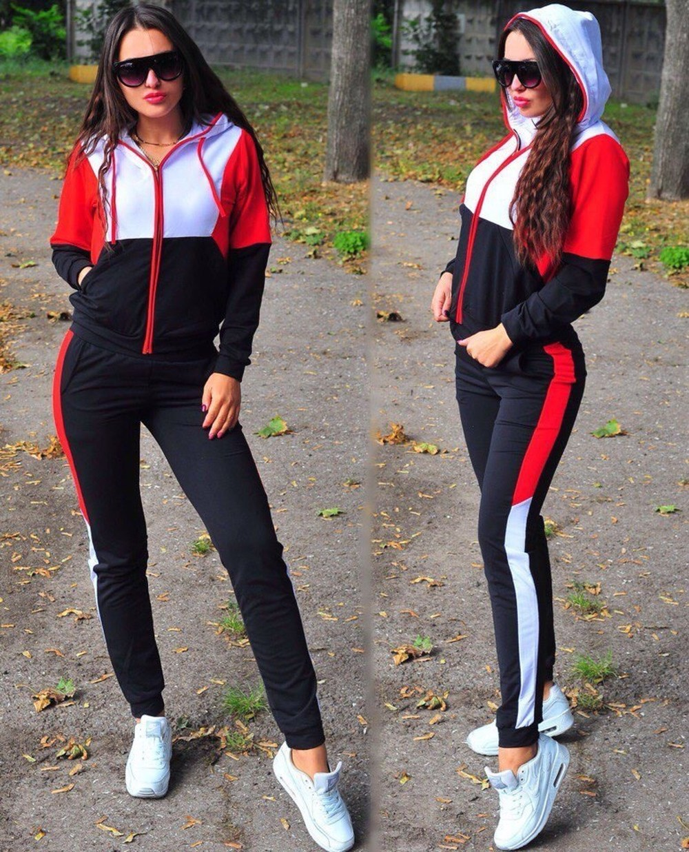 Prowow 2019 Women Plus Size Tracksuit  Set Casual Sport Suit Womens Sets Sportswear Zipper Female