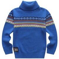 ホット販売春と秋100%綿の男の子プルオーバーセーター基本タートルネックシャツの子ニットセーター子供のため4-15