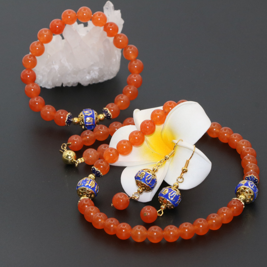 Original design new fine jewelry set 8mm orange round beads jade jasper necklaces bracelets earrings for women jewelry B2679