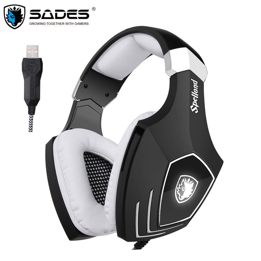 SADES A60 USB Gaming Headphones Computer Laptop PC Gamer super Bass Headset Best Casque with Microphone Noise Isolating usb gaming headphones for computer sades a60 omg over ear stereo pc gamer game headset with microphone mic noise isolating led