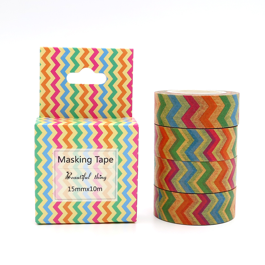 Box Package Colored Stripe Washi Tape Excellent Quality Colorful Paper Masking Tape DIY Decorative Tapes 10m*15mm