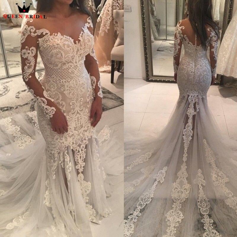 Custom Made Wedding Dresses Mermaid Long Sleeve Big Train Lace Tulle Pearls Sexy Vintage 2019 Wedding Gown Robe De Mariee ST02