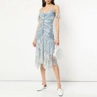 2019 Designer Spring Summer Dress Women Sexy V Neck Backless Dresses Female Spaghetti Strap Embroidery Midi Dresses Vestido