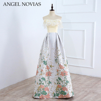 ANGEL NOVIAS Real Picture Long Fashion Brocade Evening Dress 2018 Dubai Formal Arabic Party Prom Gown Robe De Soiree New Arrival