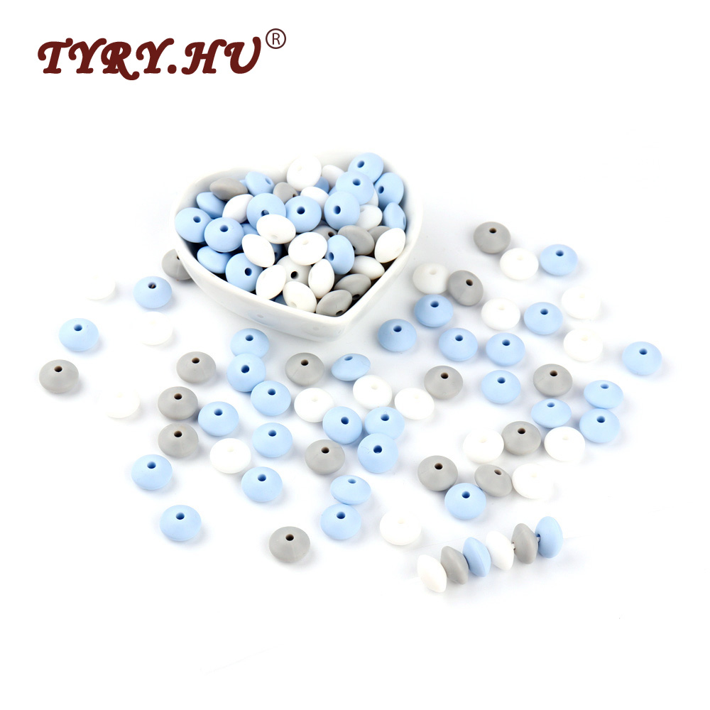 TYRY.HU 60Pcs Lentil Silicone Beads 12mm BPA Free Baby Teethers DIY Abacus Beads For Nursing Necklace Making Baby Teething Toys