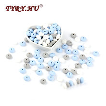 TYRY.HU 60Pcs Lentil Silicone Beads 12mm BPA Free Baby Teethers DIY Abacus beads For Nursing Necklace Making Baby Teething Toys(China)