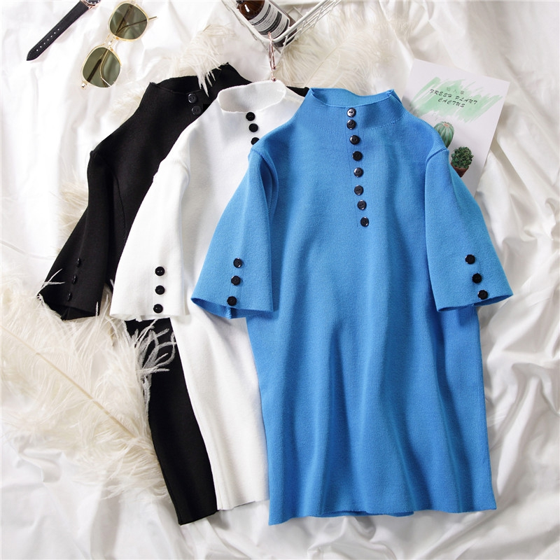 Women Summer Fashion Concise Slim Fit Solid Color Round Collar Short Sleeve Sweater