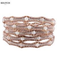 KELITCH bracelets Bohemia beads Bracelets Summer Jewelry Handmade Cool Multilayers Seed Beads Stone Wrap Cuff For Women Gifts