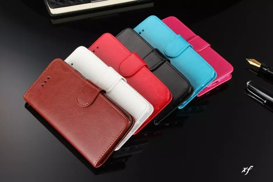 100pcs lot free shipping Crazy Horse PU Leather Soft TPU Wallet Stand case For iphone 5