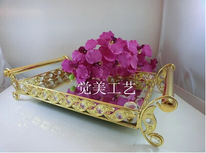 Fashion decorative metal crystal tray mirror tray wedding decoration fashion decorative metal crystal tray mirror tray wedding decoration supplie metal serving tray decorative trays glass junglespirit Images