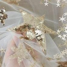 Tissu en dentelle brodée d'étoiles et de paillettes dorées de qualité supérieure, Tulle Champagne pour robe de Cocktail, robes, voile de mariée, Haute Couture