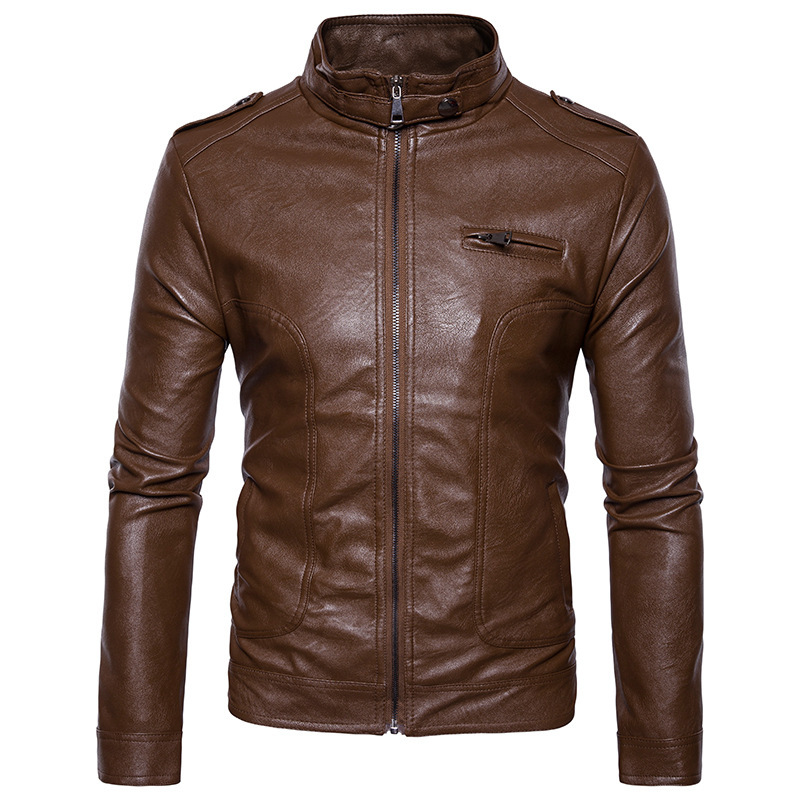 Новые мотоциклетные Кожаные куртки Для мужчин одноцветное Бизнес повседневные пальто осень-зима кожа Костюмы Курточка бомбер для мужчин