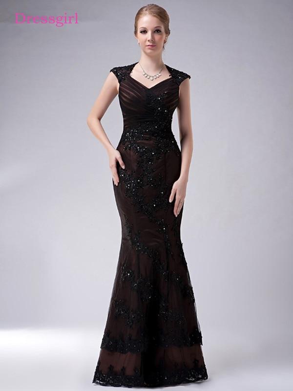 Black 2019 Mother Of The Bride Dresses Mermaid Cap Sleeves Lace Beaded Plus Size Long Elegant Groom Mother Dresses Wedding