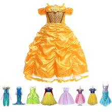 Baby Girls Belle Dress Child Kids Cosplay Costume Unicorn Party Princess Ariel Rapunzel Jasmine Elsa Cinderella Snow White