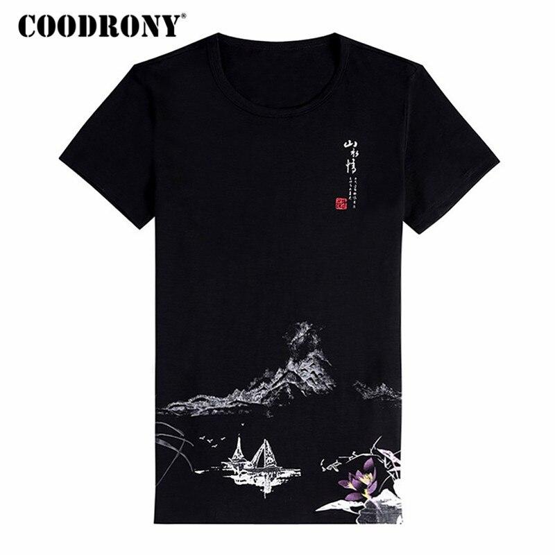 COODRONY estilo chino T camisa de los hombres de camiseta de manga corta de los hombres 2018 nuevo verano Tops de algodón o-Cuello camiseta homme S8644