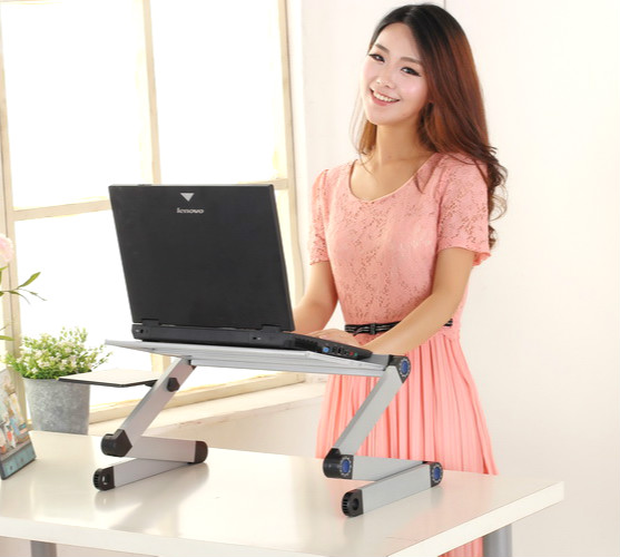 Simple  fashion desk lazy notebook computer desk on bed table  can mobile aluminum alloy folding  free shipping high quality simple notebook computer desk household bed table mobile lifting lazy bedside table office desk free shipping