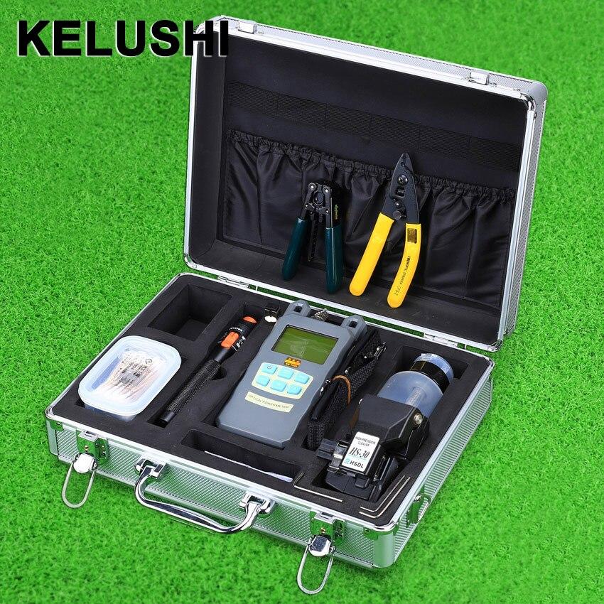 KELUSHI 23 pièces FTTH Fiber optique trousse à outils boîte HS-30 Fiber couperet 10 mW visuel défaut localisateur optique compteur de puissance Fiber décapant