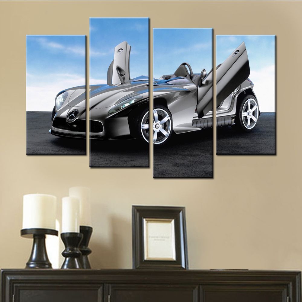 Modern Sports Car Canvas Painting Home Decor Frameless Modular Painting European Style 4 Pieces Wall Pictures