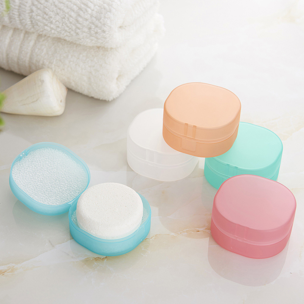 Portable Transparent Soap Box Round Shape Leak Resistant Sponge Case Bathroom High Quality