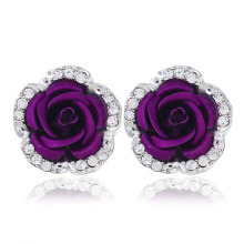 Korea Silver Color Pierced Stud Earrings For Women Fashion Jewelry Trendy Wedding Flower Wholesale
